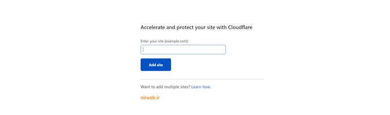 وارد کردن آدرس سایت در Cloudflare