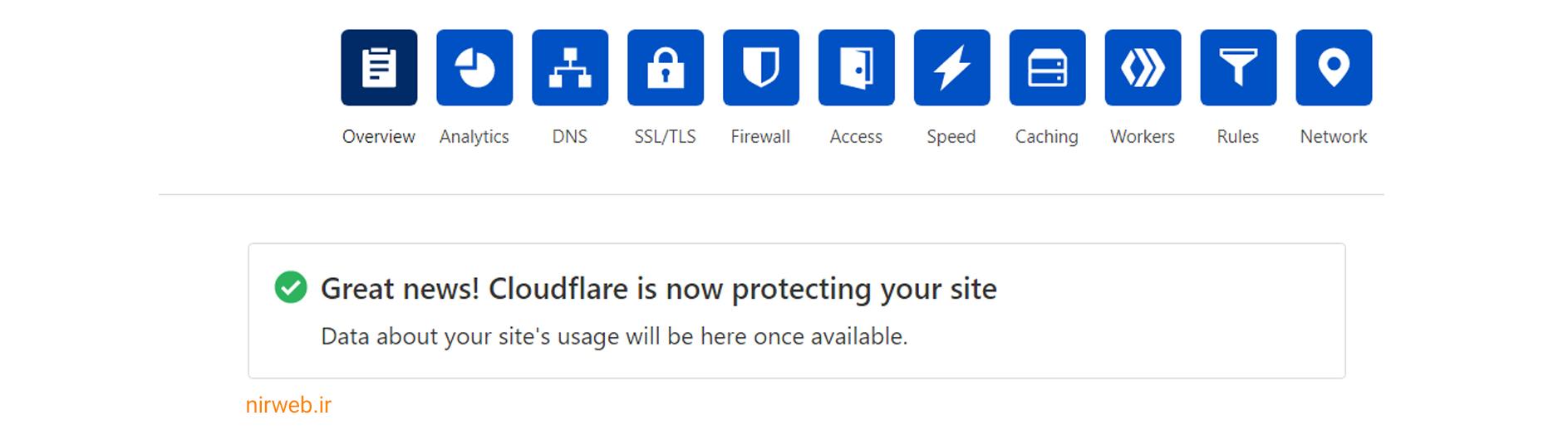 فعال شدن سرویس cloudflare