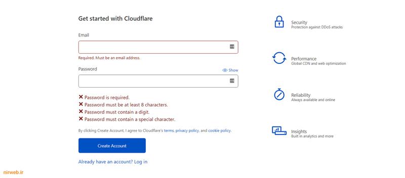 ثبت نام در Cloudflare
